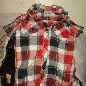 Dickies red black white plaid shirt w/skull